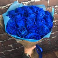 Букет 19 синих роз с оформлением R004