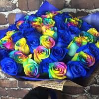 Букет 31 роза синие и радужные R019
