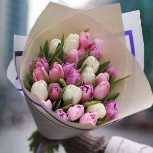 Букет 21 разноцветный тюльпан R975