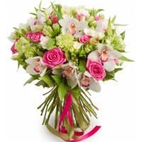 Сборный букет орхидеи и розы R004
