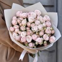 15 веток пионовидной розы в крафте R033