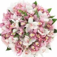 Букет 51 крупная орхидея в упаковке R006